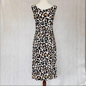 Norma Kamali Ruched Jaguar Print Dress
